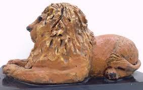 resting lion sculpture margit elsohn 1911 2007 new york
