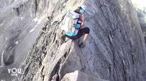 narrow picture ledge climbers walk along narrow mountain ledge youtube