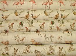 Bird Print Curtain Fabric 2017 Designer Vintage Linen Look Animal Print Designs Curtain