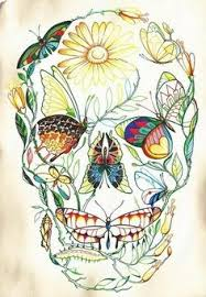 day of the dead watercolor sugar skull 5 x 7 giglee print on