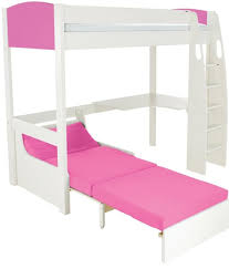 buy stompa pink high sleeper frame including desk and pink chair