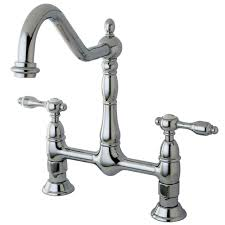 kingston brass victorian 2 handle bridge kitchen faucet with lever