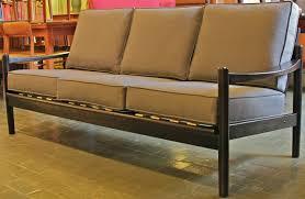 danish style sofa wood frame sofa grey fabric cushions danish