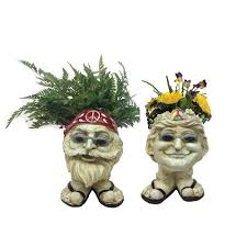 face planters homestyles 13 in h hippie jerry and hippie janice antique