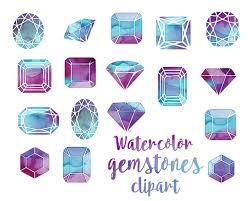 Home Design Gems Free Gemmes De Cristal Mis Aquarelle Watercolor Crystals And Gems