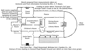 Historic Plantation House Plans The Crypt Bellevue Camden County Georgia