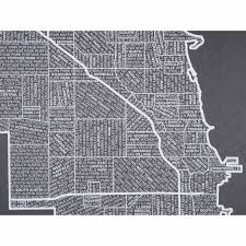 Chicago Neighborhood Map Poster by Chicago Neighborhood Poster White Ink Screen Print By Hand On