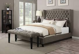 Tufted Headboard And Footboard Acme 20900q Collection 2 Tone Chocolate Linen Fabric Tufted