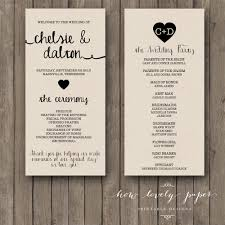 one page wedding program printable wedding program the ella collection wedding programs