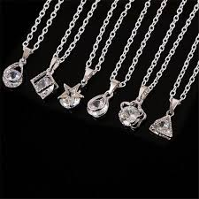 sterling silver necklace styles images Wholesale 925 sterling silver woman man crystal diamond necklace jpg