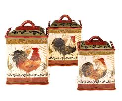 tuscan rooster 3 pc ceramic canister set chicken and rooster