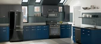 Kitchen Ideas With Black Appliances by Amusing Blue Grey Painted Kitchen Cabinets Dark Blue Kitchen
