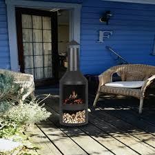 ikayaa chimney metal patio garden outdoor fire pit lovdock com