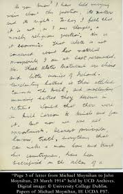 letter from michael moynihan to john moynihan 23 march 1914
