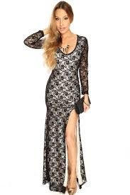 womens clothing party dresses black floral lace side slit cut out