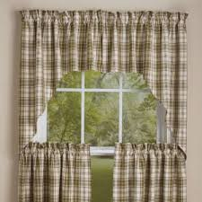 Green Checkered Curtains Country Swags Piper Classics