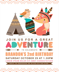 tribal birthday invitation card stock vector image 74364788