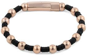 rose bead bracelet images Rose gold plated steel bead rubber bracelet png