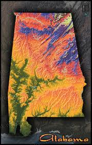Us Map Topography Colorful Alabama Wall Map Topographical Physical Features