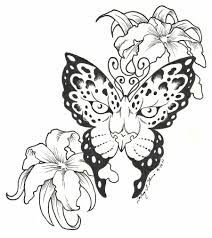 leopard print butterfly with flowers tattoo designs photos