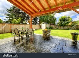 Patio Tile Flooring by Pergola Patio Area Tile Floor Decorated Stock Photo 219872257
