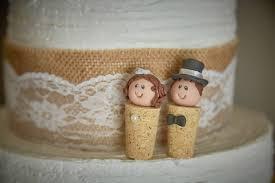 custom cork wedding cake topper bride and groom personalised
