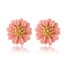 earring plasters everneed marguritta flower earrings coral 14 mm x 14 mm 4 25