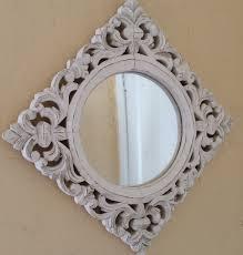 vintage ornate wood frame diamond shape mirror painted white home