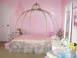 kids carriage bed and disney castle wallpaper also wood floor