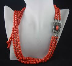 large red bead necklace images 148g 3 strand graduated red coral barrel bead necklace vivien 39 s jpg