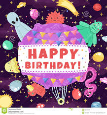 happy birthday funny and cute space greeting card and background