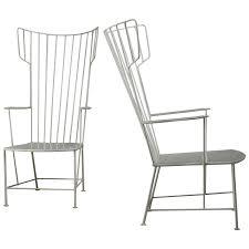 praun and lauterbach pair of white metal garden chairs austria