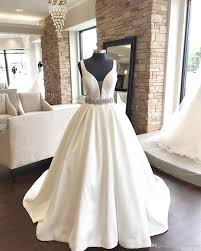 plus size wedding dresses with pockets glitter beaded waist rhinestones satin gown wedding dresses