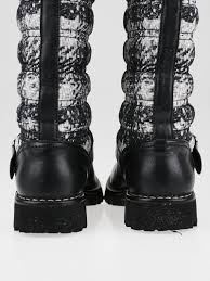 black leather moto boots chanel black leather and tweed printed nylon motorcycle boots size