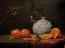 asian vase with oranges painting by iris nazario dziadul