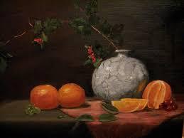 Vase With Irises Asian Vase With Oranges Painting By Iris Nazario Dziadul