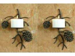 Pine Cone Home Decor Sconce Flameless Tealight Candle Holder Nicole Miller Flameless
