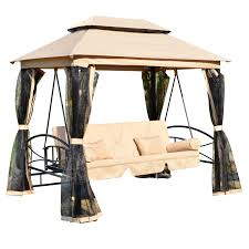 outsunny outdoor 3 person patio daybed canopy gazebo swing tan w