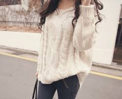 sweater clothes big white knitted sweater