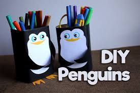 how to make pencil holder penguin diy easy kids craft