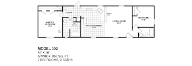 2 bedroom mobile home plans the tuscany 2 bed 1 bath 797 sq ft 16x52 front kitchen floor plan