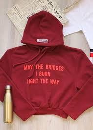 may the bridges i burn light the way vetements may the bridges i burn light the way maroon color hoodies