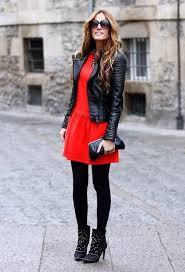 women u0027s black quilted leather biker jacket red skater dress