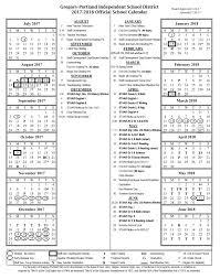 makeup school portland district calendar 2017 18 gregory portland independent school