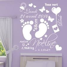 dessin chambre bébé fille sticker cadre naissance pieds bébé date poids prénom