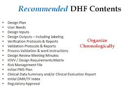 dhf template format and content of design history file medical