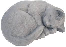 Cat Garden Decor Sleeping Cat Garden Statue Memorial Cast Stone Small Gray Outdoor