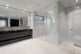 Bathroom With Mirrors Luxury Bathroom With Mirrors Sink Shower And Toilet Stock Photo