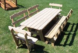 lovely wood picnic table with detached benches 20 free picnic