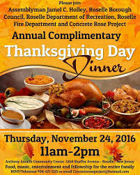 roselle to hold complimentary dinner on thanksgiving day roselle